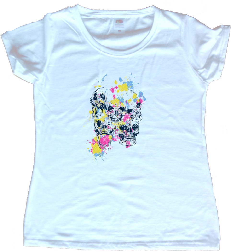 Splattered skulls graphic ladies t shirt ebay for Graphic design t shirts uk